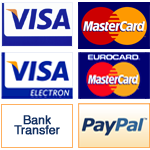 We Accept Visa, Electron, Mastercard, Eurocard and Paypal
